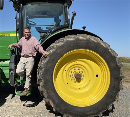 David Petter from Petter Farms stands beside Trelleborg's new tire designed for rice farming applications. The ProgressiveTraction Rice tire in available in size 480/80R50.