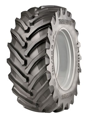 Trelleborg says its new Trelleborg TM1060 not only replicates but surpasses the performance of /60 Series tires. It is one of many products in Trelleborg's booth at the Farm Progress Show.