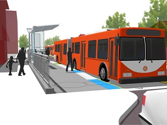 Each platform will include a passenger shelter, furnishings, signage, and lighting components. Image: TriMet