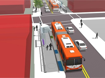 TriMet's Division Transit Project includes four station type proposals (Integrated station proposal rendering shown). Image: TriMet
