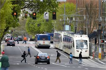 TriMet's light rail and bus system. Photo courtesy TriMet
