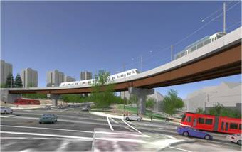 Rendering of the Harbor Structure. Photo courtesy of TriMet.