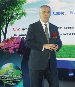 Pierre Cohade, CEO of Triangle Tyre Co. Ltd., spoke about the company's brand globalization strategy and plans to launch 151 products in 2016 at the 40th anniversary celebration.