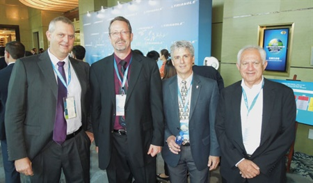 Among the 500 guests in Shanghai for Triangle's 40th anniversary event were (from left): Brett Mayze, vice president-strategy, Consolidated Tyre Co., Australia; Sid Parr, director of commercial tire sales, Triangle Tire USA; Tunney Vandevener, manager of consumer tire sales, Triangle Tire USA; and David Swarbrick, vice president-sales, Consolidated Tyre Co., Australia.