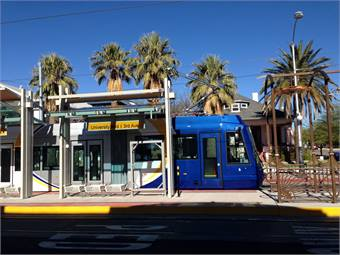 One of the three Sun Link Tucson Streetcar vehicles going through testing recently. Courtesy Jfruh, Wikimedia Commons