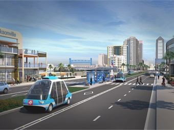 A 2017 rendering of Jacksonville Transportation Authority's Ultimate Urban Circulator Program (U2C) using autonomous vehicle technology.