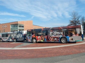 UConn will take delivery this spring of 10 new heavy-duty buses built by New Flyers, similar to the UConn Nation transportation buses and the Icebus currently in use at the Storrs campus. (Sean Flynn/UConn Photo)