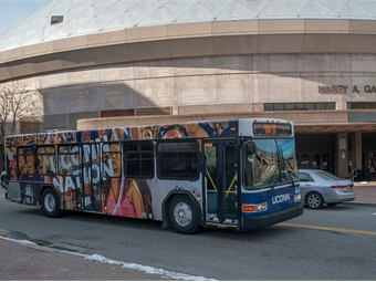 View of the UConn Nation transportation bus on Jan. 7, 2016. (Sean Flynn/UConn Photo)