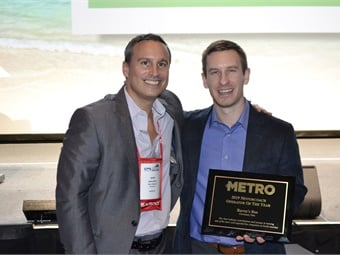 METRO Publisher James Blue honored this year's Motorcoach Operator of the Year award winner, Baron's Bus, which was represented by Patrick Goebel, during a ceremony at UMA Expo 2019.