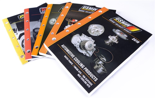 Like its new packaging, the new US Motor Works catalogs display the color-coded bar that represents each brand, Derale Performance (red), USMW Pro/HD Series (Orange) and Pacer Performance (yellow).