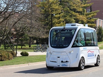 The University of Wisconsin is collaborating with the City of Madison and American Family Insurance on a project to bring an autonomous shuttle to downtown Madison. UW-Madison College of Engineering