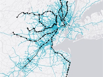 A map shows Uber trips, in blue, that originated or ended one eighth of a mile from an NJ Transit rail line or station, shown in black, and from PATH stations. Map courtesy Uber