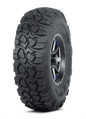 Caption: Carlstar's redesigned ITP Ultra Cross R Spec tire for all-terrain and side-by-side vehicles has a flatter profile than the prior version of the tire.