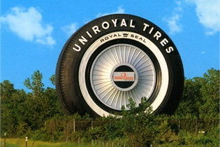 "This 80-foot ""fake"" tire used to be a Ferris wheel at a world's fair. It is displayed in Allen Park, Mich."