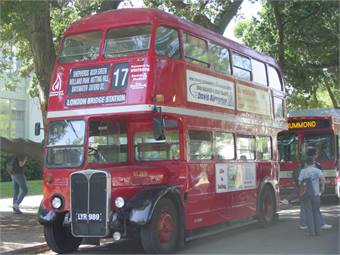 Unitrans' vintage double decker bus was converted to CNG, and is the only of its kind in North America.