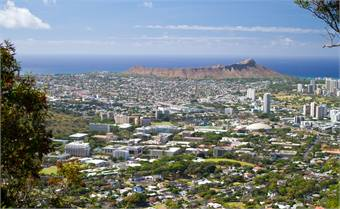 UHM campus, as seen from Tantalus Mountain, with the campus in the foreground and with Diamond Head in the background. Photos courtesy University of Hawaii at Manoa.