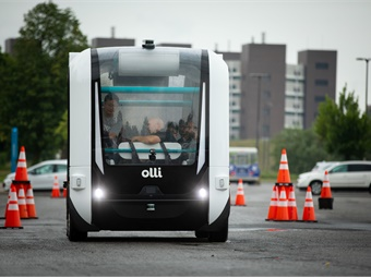 Local Motors' autonomous shuttle, which is mostly 3D printed, is capable of seating eight passengers and reaching 25 mph. Credit: Douglas Levere, University at Buffalo
