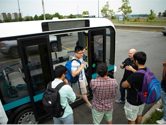 University at Buffalo researchers will use Olli, pictured above, to conduct comprehensive testing of autonomous and connected vehicles. Credit: Douglas Levere, University at Buffalo