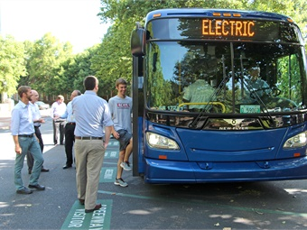 Electric buses, manufactured by New Flyer, conducted a demo on the UGA campus last year. Photo: University of Georgia