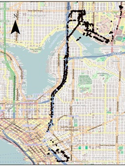This map shows Bluetooth detections recorded on a single shuttle bus during the testing window last spring. University of Washington