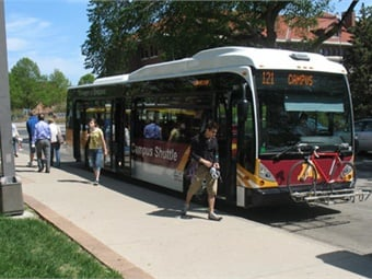 All University of Minnesota shuttles are equipped with wheelchair lifts and bike racks, and connect to Metro Transit, the public transportation system in the Minneapolis/St. Paul area. U. of Minn/First Transit