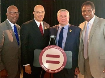 Pictured left to right: Urban League President and CEO Darnell Williams, Keolis President Gerald Francis, Keolis GM and CEO David Scorey, WBZ Boston Sports Journalist Steve Burton.Keolis