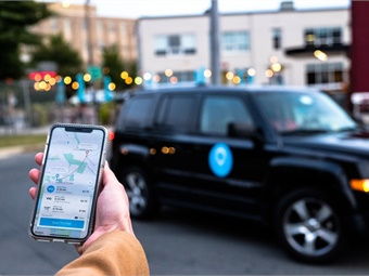 Riders can download the Via app to hail a vehicle directly from their smartphone. Photo courtesy of Via.