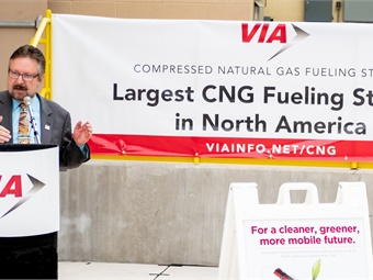VIA President/CEO Jeffrey C. Arndt leads the dedication of VIA's new 10,980 square foot CNG fueling station, the largest in North America.VIA