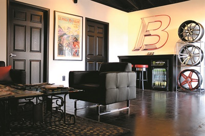 The VIP customer lounge at Butler Tire is designed to accommodate the privacy needs of the celebrities and sports figures who patronize the dealership.