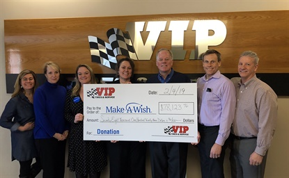 VIP presented its donations to Make-A-Wish leaders on Feb. 4. From left: Kim Anania, Kate Vickery and Sarah Rulman, all from Make-A-Wish Maine; Mary Daigle, VIP office manager; John Quirk, VIP chairman and CEO; Tim Winkeler, VIP president and chief operating officer; and Gary MacCausland, VIP vice president of operations.