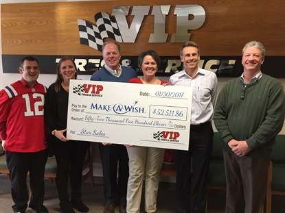 VIP Tires presented its latest gift to Make-A-Wish.From left,Alex Gaeth, executive director of Make-A-Wish Maine;Sonya Purington, marketing and communications director for Make-A-Wish Maine;John Quirk, CEO and president of VIP Tires & Service;Mary Daigle, office manager of VIP Tires & Service;Tim Winkeler, chief operating officer for VIP Tires & Service; and Gary MacCausland, vice presidentof operations for VIP Tires & Service.