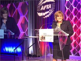 Acting FTA Administrator K. Jane Williams made the VTA's federal funding announcement at the 2019 APTA Rail conference in Toronto.Metro Magazine/Janna Starcic