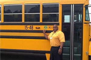 Valdosta City Schools recently received its first propane school bus. Shown here with the new bus is Edward Collins, the district's transportation supervisor.