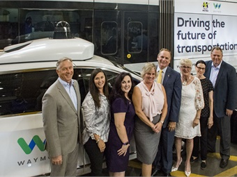 Valley Metro RPTA and Valley Metro Rail Board members unanimously approve the technology partnership between the agency and Waymo.From left: Mesa Mayor John Giles, Tempe Vice Mayor Robin Arredondo-Savage, Gilbert Councilmember Brigette Peterson, Glendale Vice Mayor & Valley Metro RPTA Chair Lauren Tolmachoff, Chandler Councilmember Kevin Hartke, Phoenix Mayor & Valley Metro Rail Chair Thelda Williams, Scottsdale Councilwoman Suzanne Klapp and Valley Metro CEO Scott Smith. Photo: Valley Metro