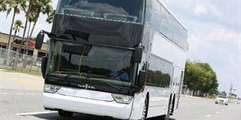 A Van Hool TDX double-deck coach. ABC Companies