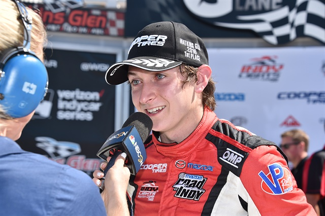 Zach Veach interviewed after his win at Watkins Glen.