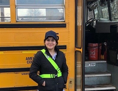 Middle school students from Vermillion (S.D.) School District participate in the American Automobile Association's School Safety Patrol program topromote proper school bus safety among their peers. Photo courtesy Vermillion School District