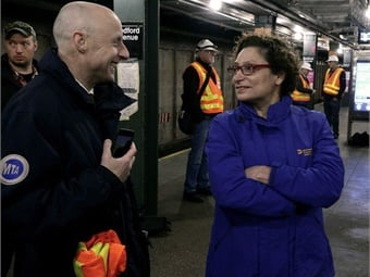 """Managing Director Veronique """"Ronnie"""" Hakim and NYCT President Andy Byford visit the L line in the early morning hours of Mon., April 29, 2019. Marc A. Hermann/MTA New York City Transit"""