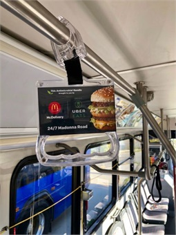 VertX's pathogen-reducing standing passenger handles feature space for a supporting advertiser (shown).