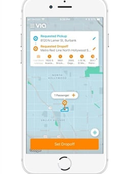 Using the Via app, or a dedicated phone line for users without access to a smartphone, passengers in the three pilot zones will select their pickup and drop-off locations and confirm their ride. Image: Via