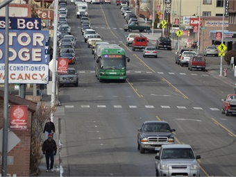 The Virginia Street BRT Extension project expands BRT service by 1.8 miles from its current northern endpoint in downtown Reno to the University of Nevada, Reno.