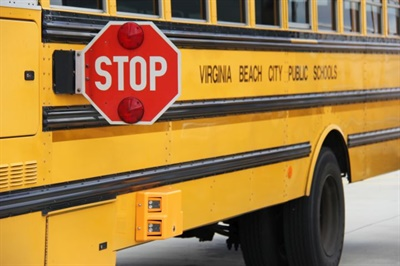 Virginia Beach City Public Schools installed exterior cameras, such as the one shown here, on 100 of its buses. Photo courtesy Virginia Beach City Public Schools