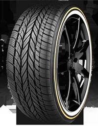 Vogue Tyres says the Custom Built Radial VIII features an exclusive gold and white sidewall, all-season traction, touring tire ride quality, high performance handling, and long tread life.