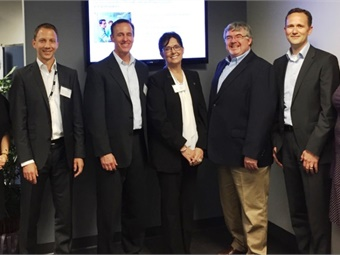 (From left to right) Stephan Keuschnigg-Zingl, Voith Digital Solutions, Marc Begin, Voith Digital Solutions, Rep. Cynthia Ball, North Carolina House of Representatives, Darryl Stevenson, Voith Digital Solutions, and Rene Habets, Voith Digital Solutions. Photo courtesy of Voith.