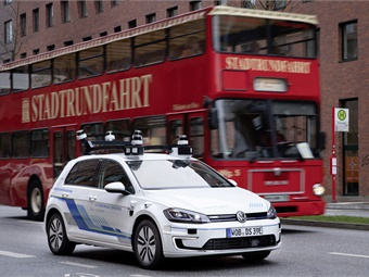 The e-Golf configured by Volkswagen Group Research have 11 laser scanners, seven radars, and 14 cameras. Volkswagen