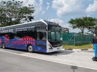 Volvo Buses and Nanyang Technological University (NTU) in Singapore have demonstrated the world's first 40-foot autonomous electric bus. Photo: Volvo