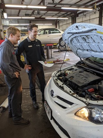 """I have some incredibly dedicated young people here,"" says Chris Voss, owner of Performance Tire & Auto, a single-store dealership in Burlington, Wis. That includes Brandon Fredrick, Automotive Service Excellence-certified master tech, age 27 (left) and Andy Hannula, age 26, assistant service manager."