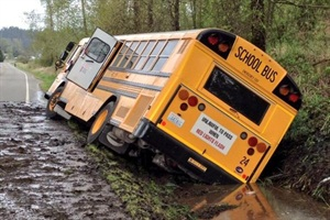 Surveillance footage from an April 21 incident in Orting, Wash., clarified some key details about the crash, which was initially reported in the media to have been caused by a bee distracting the bus driver. Photos by Washington State Patrol