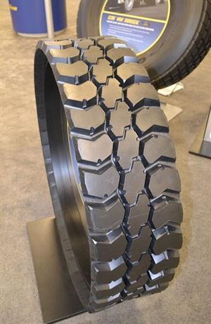 Goodyear says the new Endurance WHD retread is a waste-haul retread with a dual-layer tread compound for slow tread wear and low rolling resistance.