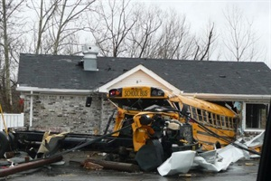 This is one of several West Clark Community Schools buses that was damaged during the March 2 tornado in Henryville, Ind. Fortunately, no students were injured.